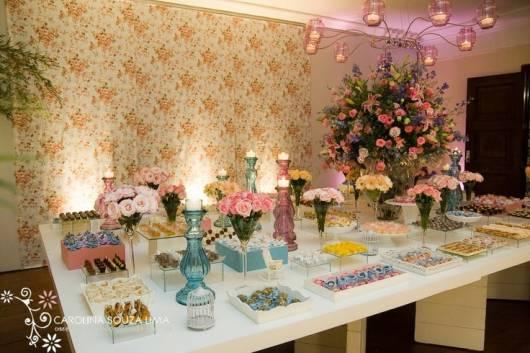 decoração festa 15 anos azul e rosa