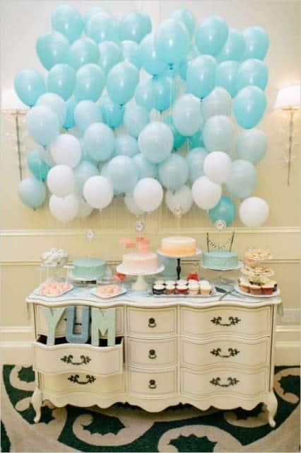 festa em casa azul e branco 15 anos