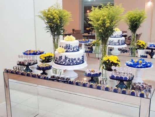 festa azul escuro e branco 15 anos
