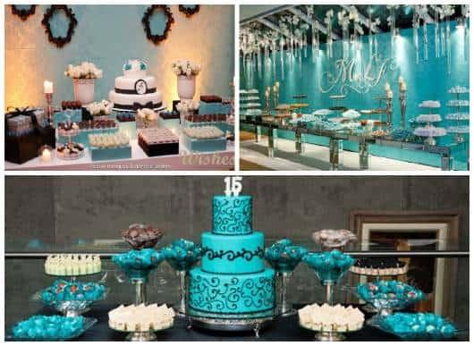 ideias festa 15 anos azul turquesa