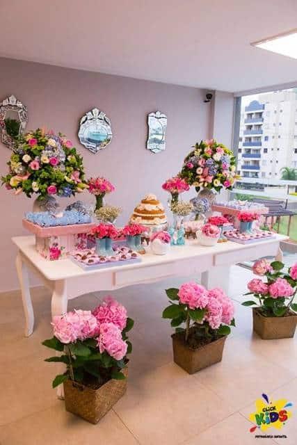 decoração de festa azul e rosa debutante