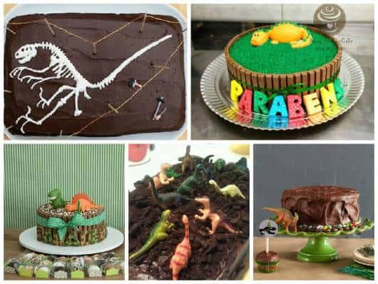 ideias bolos simples festa dinossauro