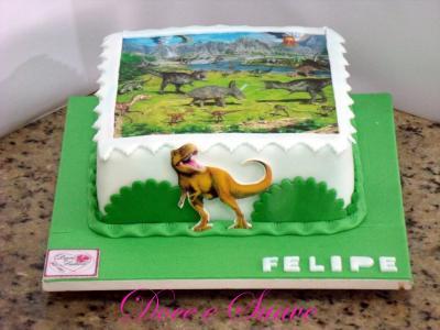 bolo dinossauro simples