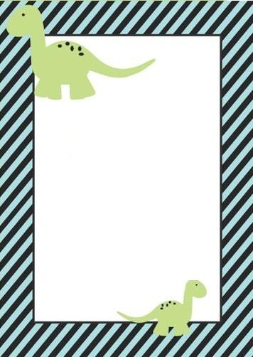 convite dinossauros azul e verde