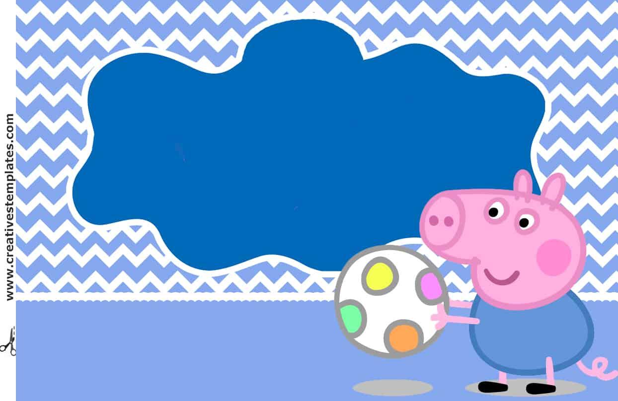 convite azul george pig