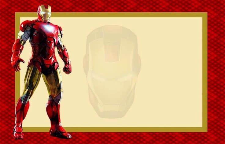 modelo de convite do homem de ferro