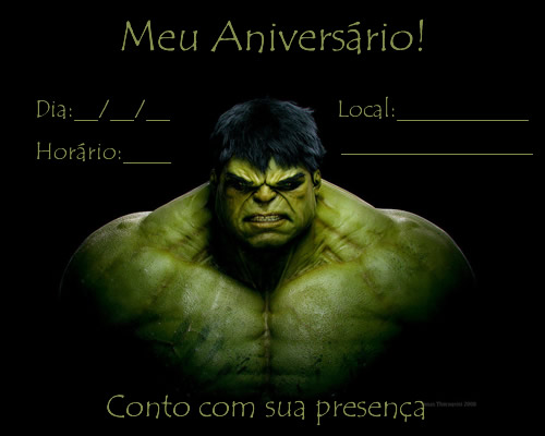convite para imprimir hulk
