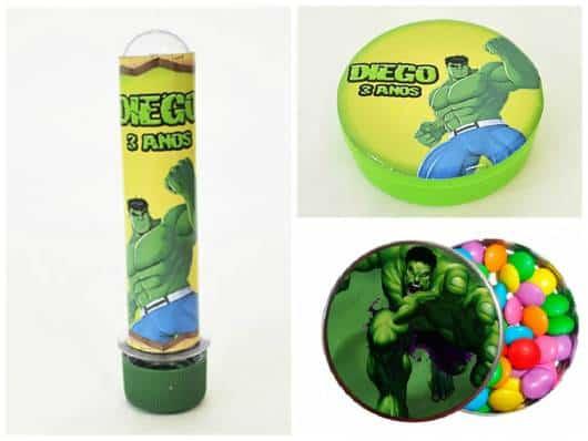 rótulo personalizado em lembrancinha do hulk