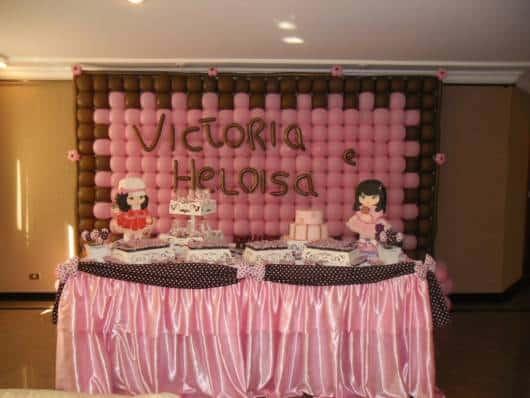 decoração jolie rosa e marrom simples