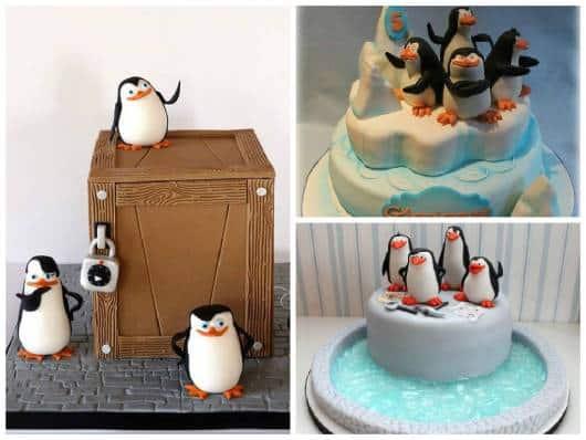 bolo pasta americana pinguins de madagascar