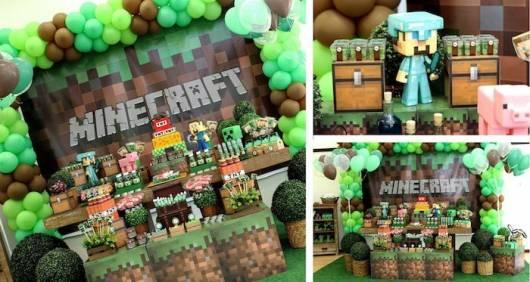 decoração festa minecraft infantil