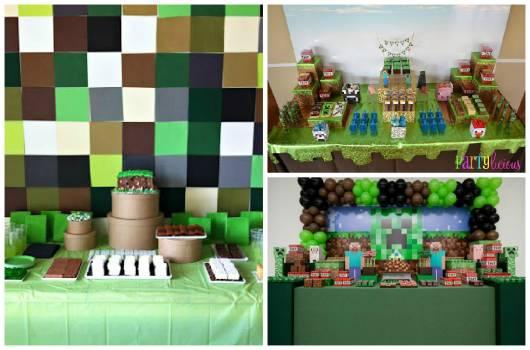 decoração de festa simples minecraft