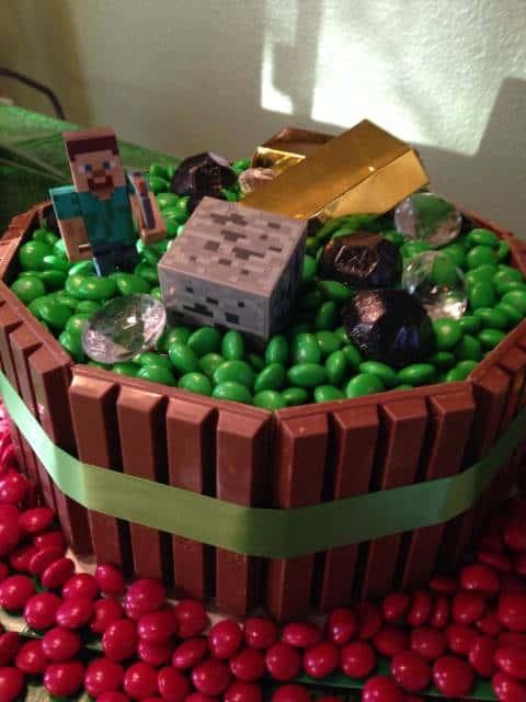 bolo kit kat festa minecraft