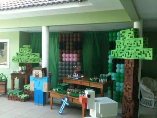 como decorar festa minecraft