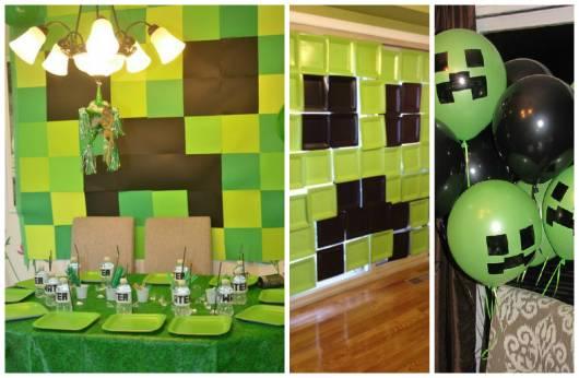 decoração simples festa minecraft