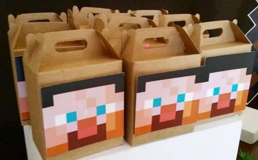 caixa lembrancinha minecraft