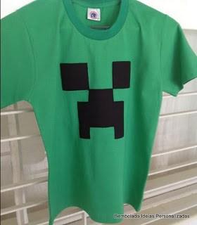 camiseta minecraft como lembrancinha