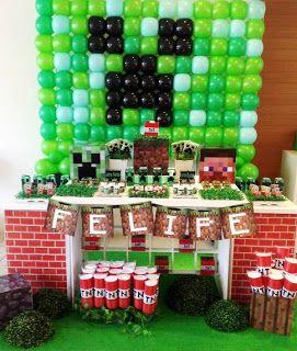 decoração com bexigas festa minecraft