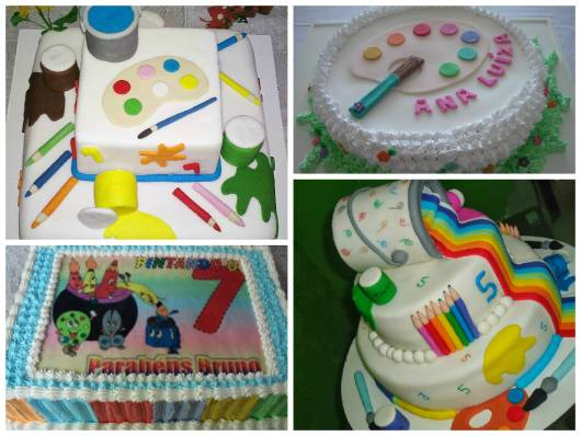 ideias de bolos para festa pintando o 7