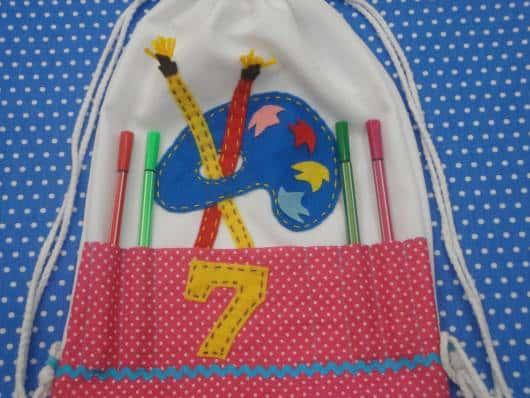 mochila lembrancinha de festa  pintando o sete