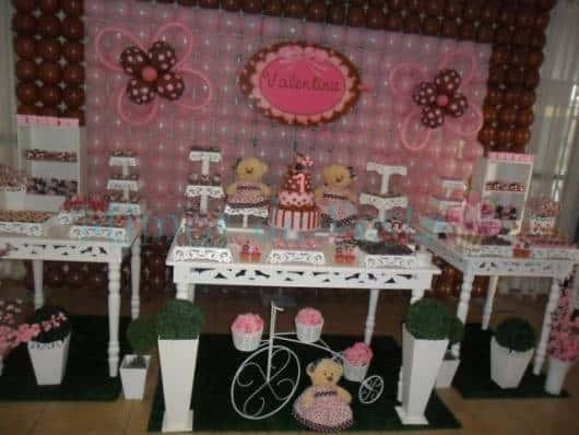 decoração provençal festa marrom e rosa
