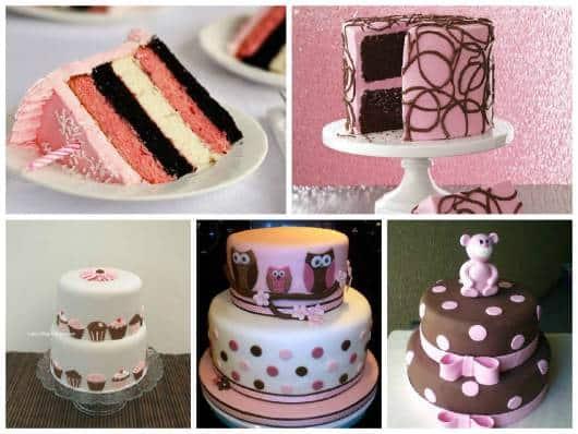 ideias para bolo marrom e rosa