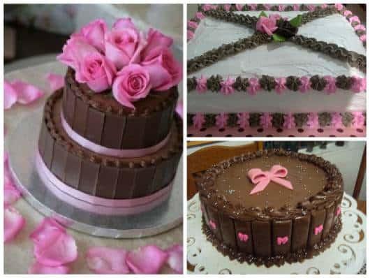 bolo simples marrom e rosa