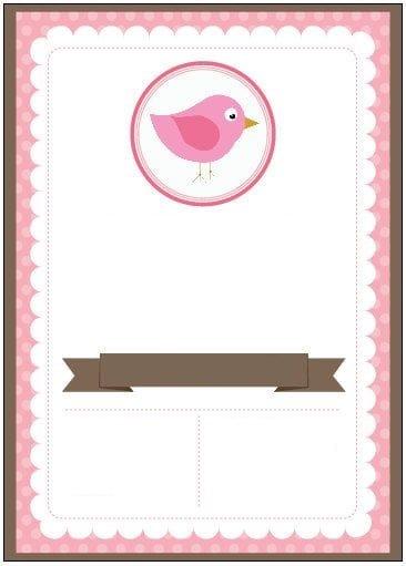 convite passarinho marrom e rosa
