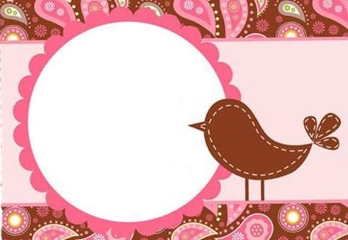 convite passarinho pink e marrom