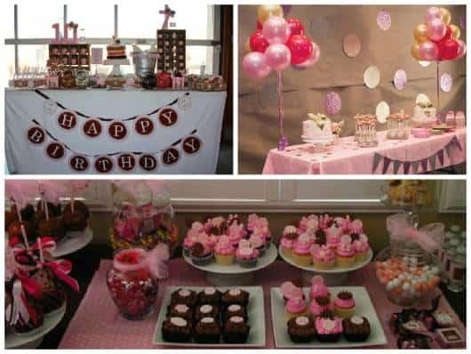 festas simples rosa e marrom