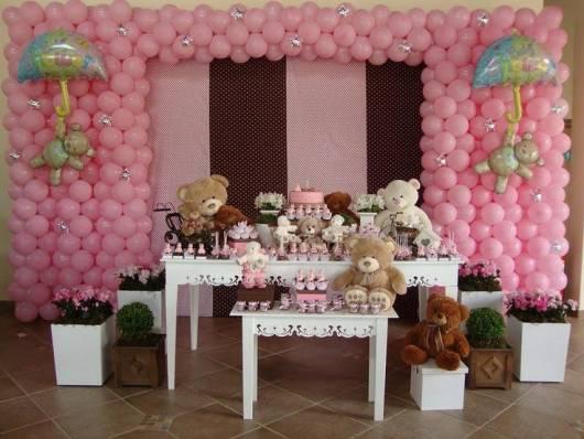 festa provençal de ursinhos marrom e rosa