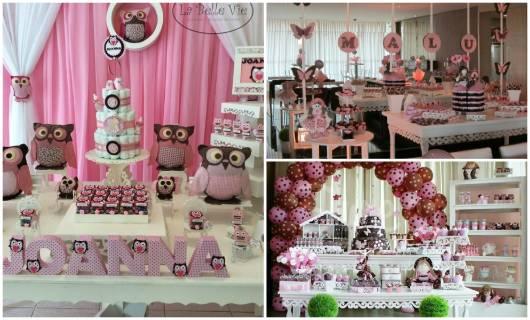 ideias de festa infantil rosa e marrom