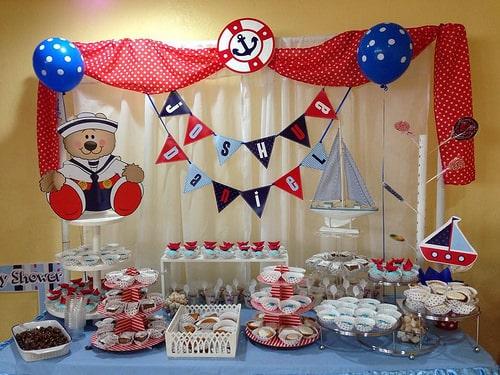 linda decoração de festa ursinho marinheiro