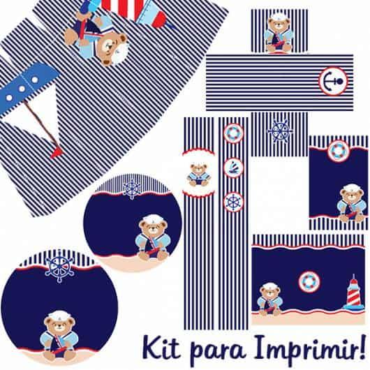 lindo kit festa ursinho marinheiro pronto para imprimir