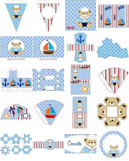 modelo de kit festa ursinho marinheiro