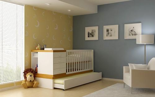 quarto de bebê com berço multifuncional