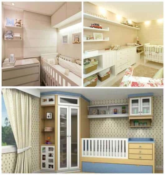 Móveis para Quarto de Bebê 50 Dicas e Fotos! ~ Quarto Pequeno Para Bebe E Irmao