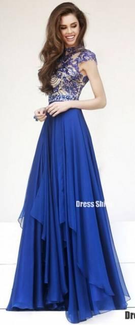 Vestido longo azul c&a