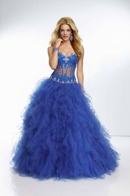 vestido debutante azul royal