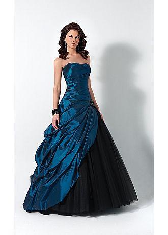 vestido rodado azul petróleo debutante