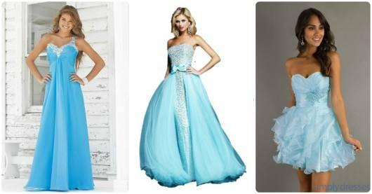 modelos de vestido azul claro debutante