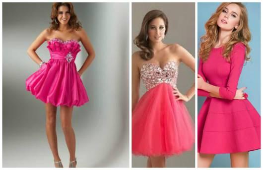 diferentes modelos  de vestido pink curto de debutante