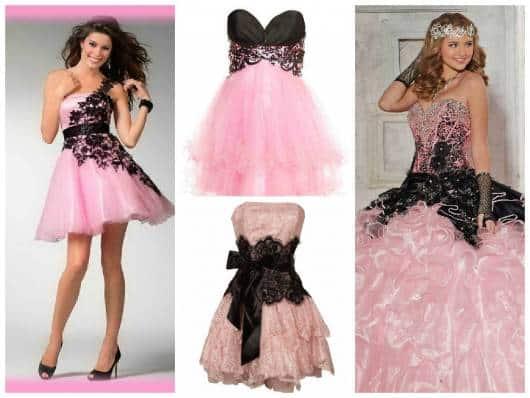 vestido curto em pink e preto