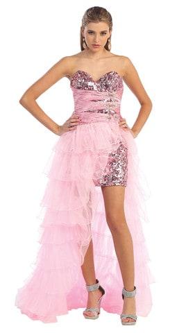 vestido rosa moderno com saia removível