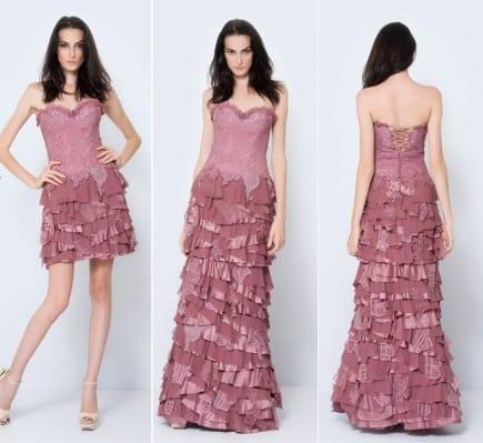 vestido rosa chá com saia removível para 15 anos