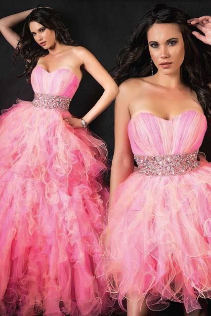 vestido rosa de debutante 2 em 1