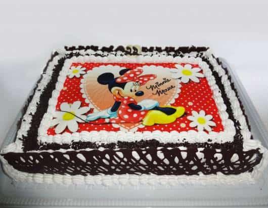 bolo minnie vermelha papel de arroz com chocolate