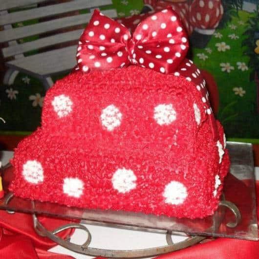 bolo confeitado minnie vermelha