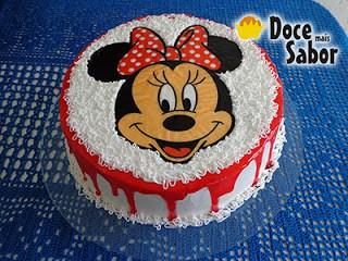 bolo minnie vermelha pequeno com papel de arroz