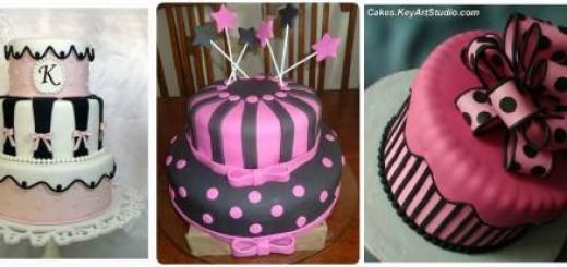 modelos de bolo 15 anos rosa e preto